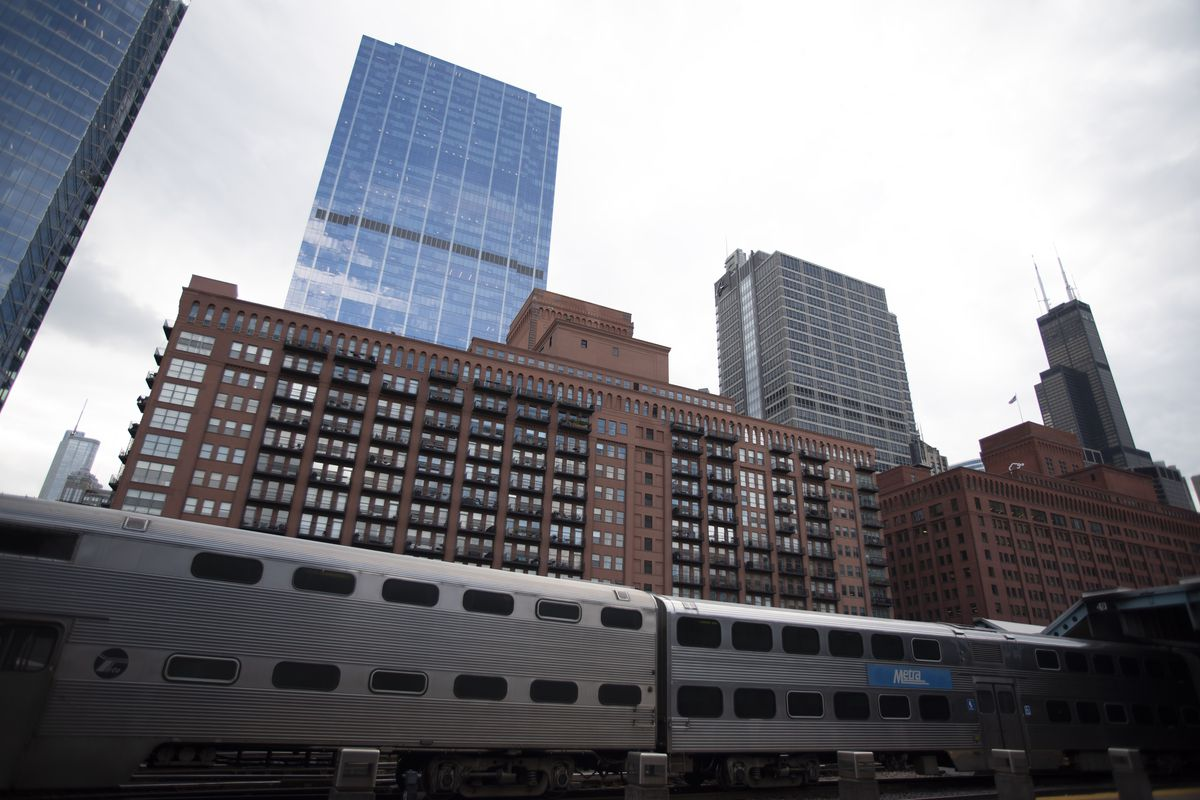 A Metra train exits Ogilvie Transportation Center in downtown Chicago in the morning on September 21, 2018.