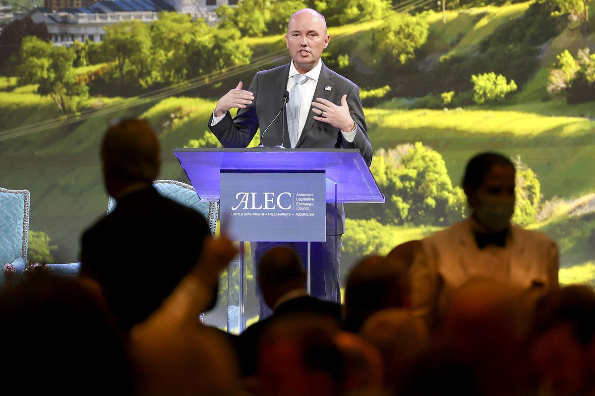 Gov. Spencer Cox speaks during the American Legislative Exchange Council (ALEC) conference as the crowd talks over him and eats lunch at the Grand America Hotel in Salt Lake City on Thursday, July 29, 2021.