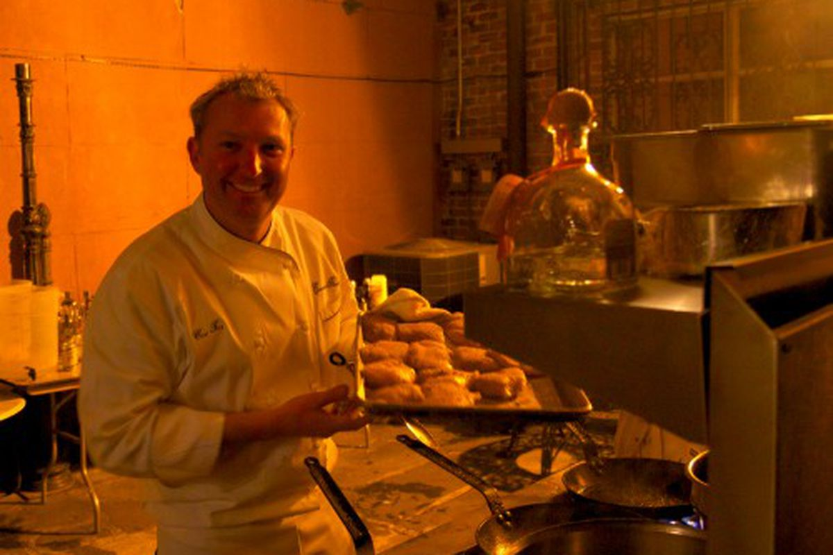 Chef Tory McPhail with bacon fat Gulf Hake at the Patron Secret Dining Society in New Orleans.