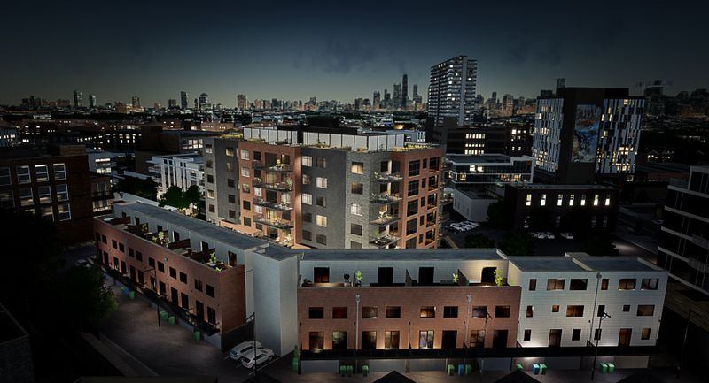 An aerial night rendering showing a row of four-story townhouses arranged in an angle following an alleyway. It is joined by seven-story condo building with a rooftop deck. The Chicago skyline is visible beyond.