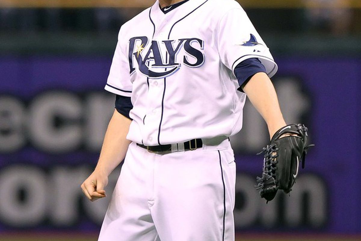 May 5, 2012; St. Petersburg, FL, USA; Tampa Bay Rays starting pitcher Jeremy Hellickson (58) reacts in the fourth inning against the Oakland Athletics at Tropicana Field. Mandatory Credit: Kim Klement-US PRESSWIRE