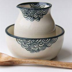 """Creamer + Sugar Bowl Set by Rosslab, <a href=""""http://www.brika.com/creamer-sugar-bowl-set"""">$38</a>"""