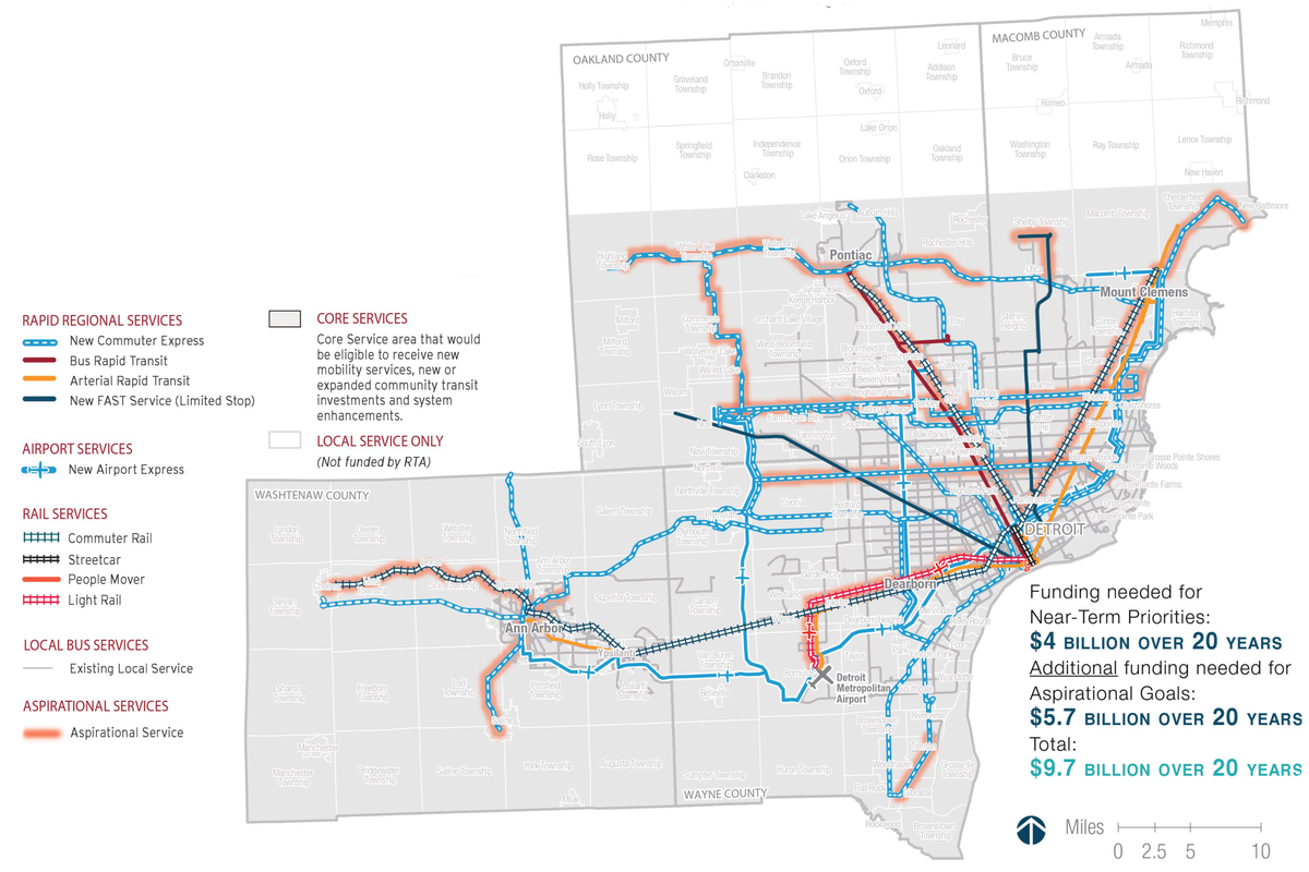 detroit public transportation map Regional Transit Authority Updates Its Transit Plan For Southeast detroit public transportation map