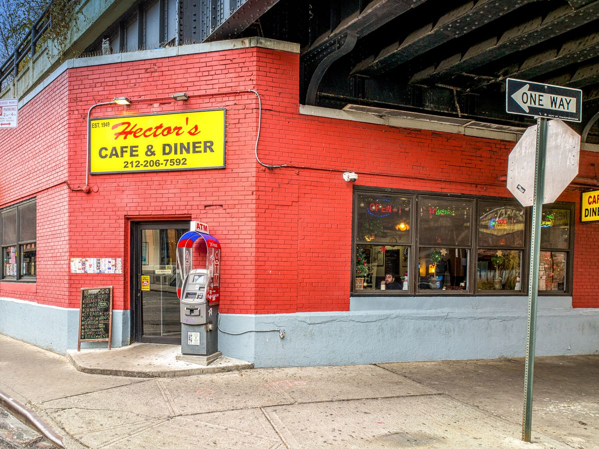 The red exterior of Hector's Cafe & Diner