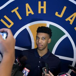Tony Bradley, who was selected by the Utah Jazz in last Thursday's NBA draft, speaks to reporters at the Grand America Hotel in Salt Lake City on Wednesday, June 28, 2017.