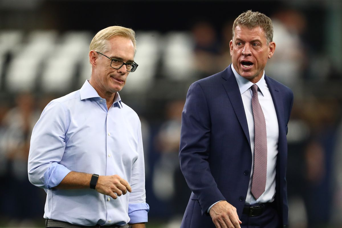 Fox announcers Joe Buck and Troy Aikman on the field prior to the game with the Dallas Cowboys playing against the Green Bay Packers at AT&T Stadium.