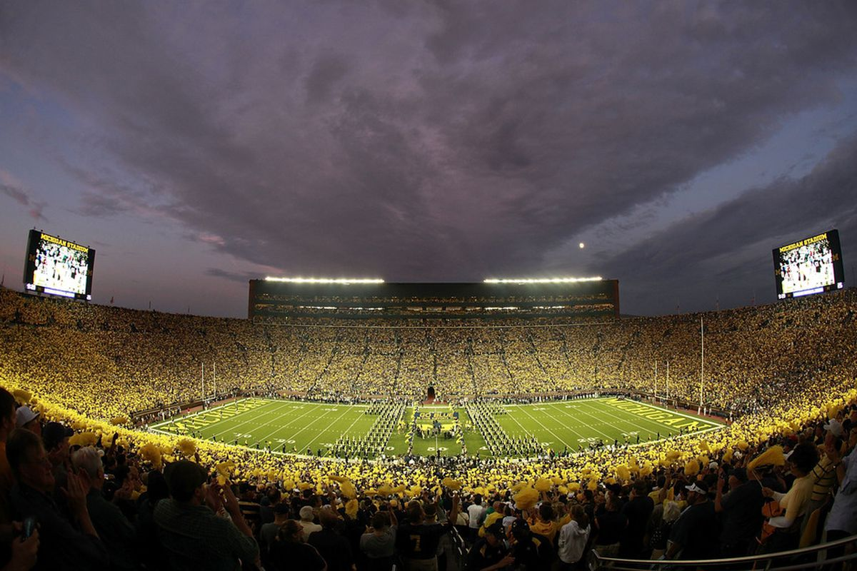 ANN ARBOR, MI - SEPTEMBER 10:  Fans fill University of Michigan Stadium prior to the start of the game between the Michigan Wolverines and the Notre Dame Fighting Irish on September 10, 2011 in Ann Arbor, Michigan.  (Photo by Leon Halip/Getty Images)