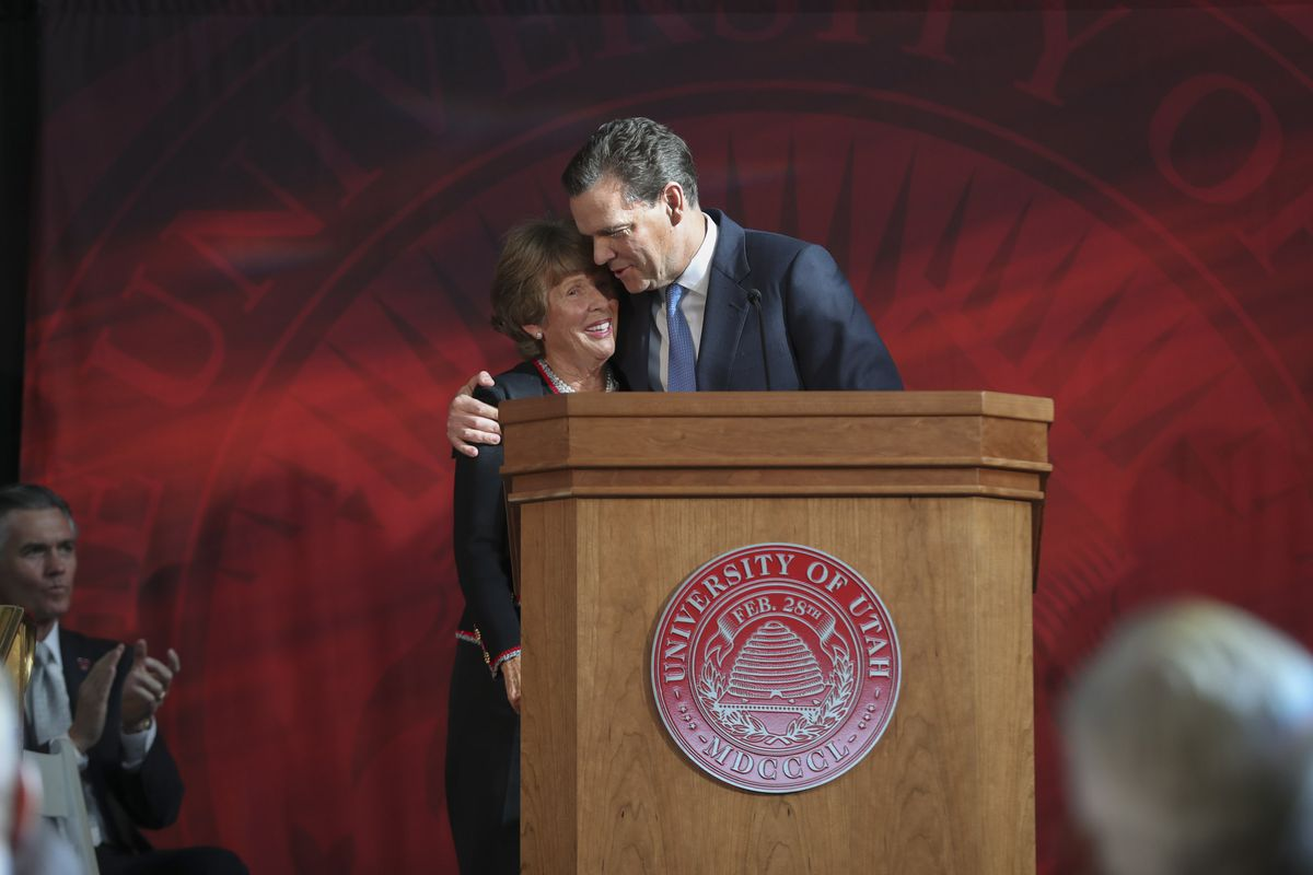 Karen Huntsman and son Peter R. Huntsman, CEO of the Huntsman Foundation, hug during a press conference at the University of Utah's Park Building in Salt Lake City on Monday, Nov. 4, 2019, where the Huntsman family announced a $150 million commitment to establish the Huntsman Mental Health Institute at the U. The funding, pledged over 15 years, will be used to support research, expand access to patient care and build awareness about mental health.