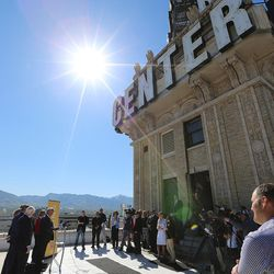 Local business leaders and elected officials gather atop the Walker Center in Salt Lake City on Tuesday, May 3, 2016, to discuss Downtown Rising projects its priorities for the next 10 years.