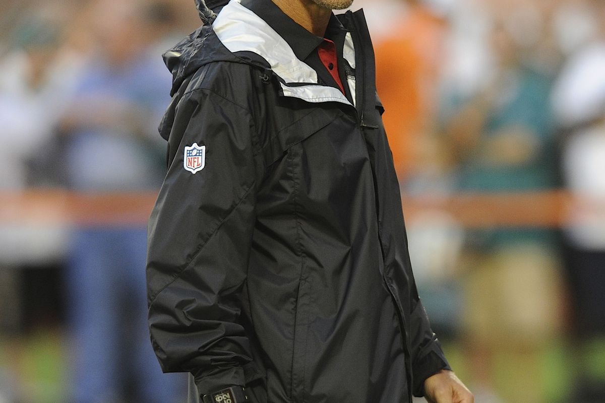 Aug. 24, 2012; Miami, FL, USA; Atlanta Falcons defensive coordinator Mike Nolan looks on before a game against the Miami Dolphins at Sun Life Stadium. Mandatory Credit: Steve Mitchell-US PRESSWIRE