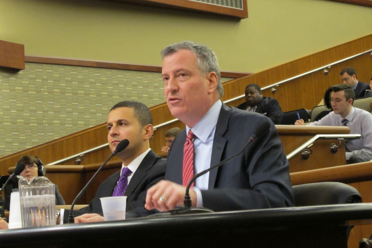 De Blasio testifying in  Albany in support of renewing mayoral control in February.