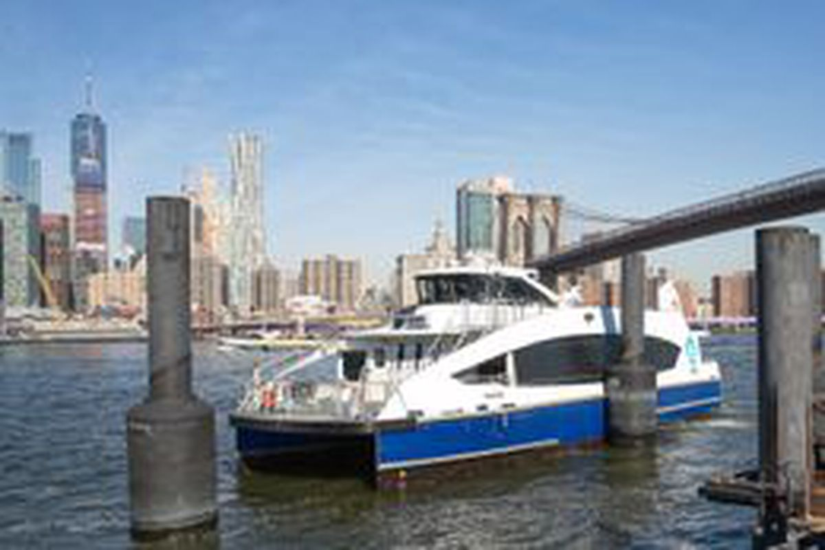 An NYC ferry docks in DUMBO, March 13, 2019.