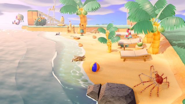 An Animal Crossing character dives into the ocean.