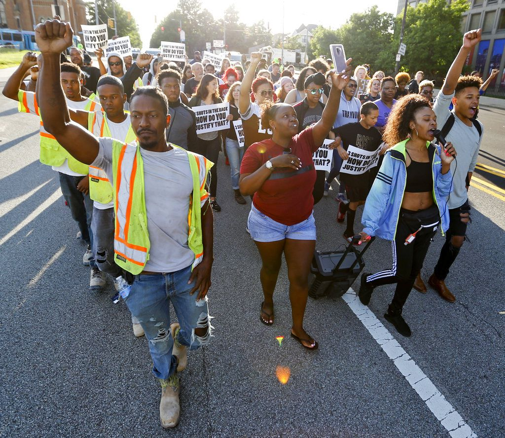 People start a protest march against the shooting death of Antwon Rose Jr. on Tuesday, June 26, 2018, in Pittsburgh. Rose was fatally shot by a police officer seconds after he fled a traffic stop June 19, in the suburb of East Pittsburgh.   AP Photo