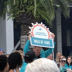 John Giesler unveils his place in in the Miami Dolphins Walk of Fame on December 2, 2018 in a ceremony in the Joe Robbie Alumni Plaza at Hard Rock Stadium, Miami Gardens, Florida.