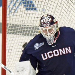 UConn's Rob Nichols (31) is laser focused on the puck.