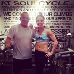 My parents were in town for the holiday weekend. Whenever they visit my dad always takes my class. This weekend in particular he took both of my 90 minute Turkey Burn rides, a 60 minute Soul Survivor, and a 45 minute class. I guess the apple doesn't fall