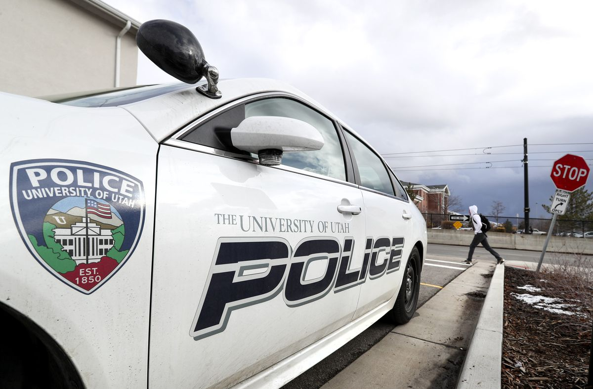 A University of Utah police car is pictured on campus in Salt Lake City on Thursday, Jan. 9, 2020.
