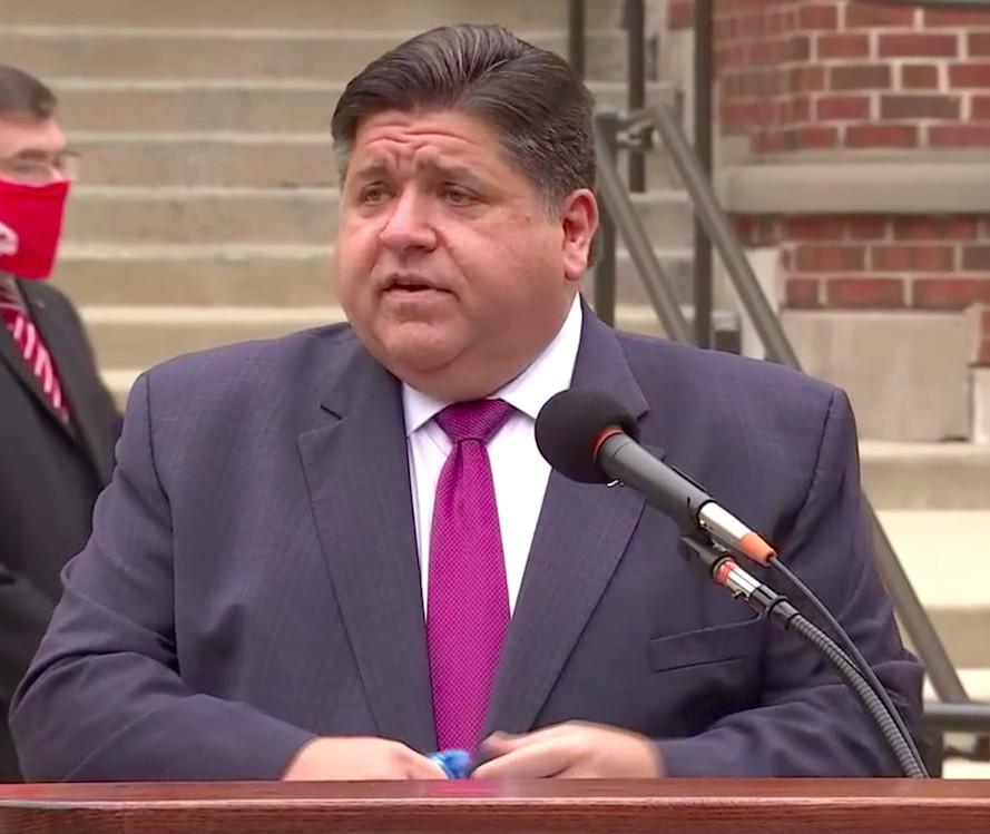 Gov. J.B. Pritzker speaks at Illinois State University on Wednesday.