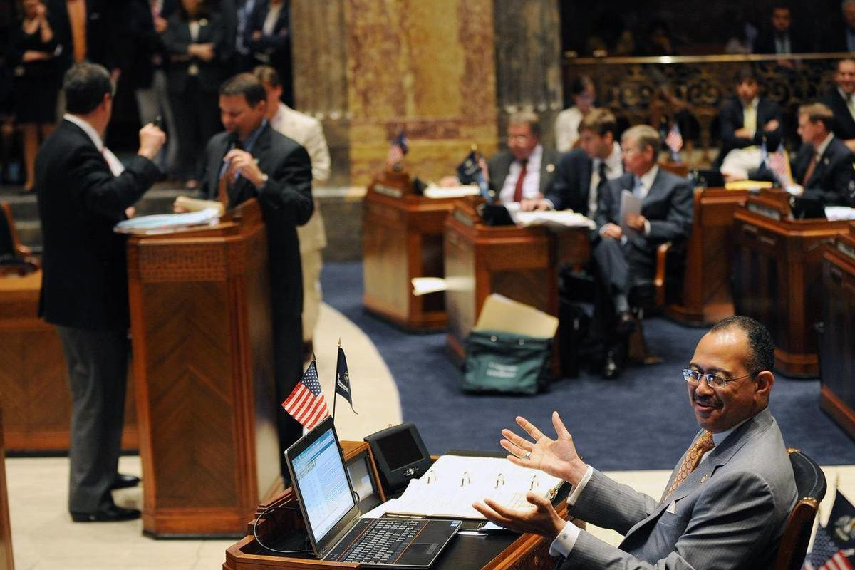 Sen. Ed Murray, D-New Orleans, who was one of six votes against a constitutional amendment  reacts during debate of the constitutional amendment that would expand gun rights in Louisiana, Monday, April 9, 2012 in Baton Rouge, La. (AP Photo/The Advocate, A
