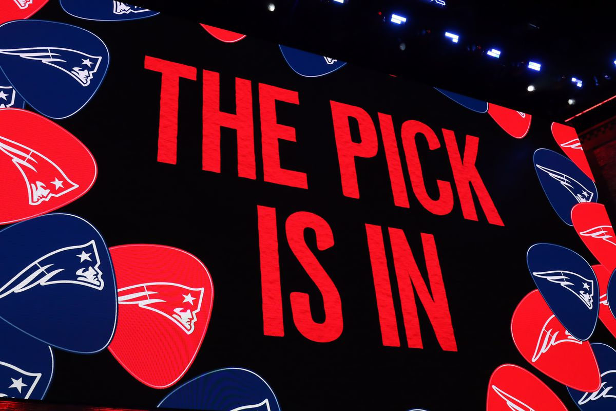 The New England Patriots turn in the final pick of the first round of the 2019 NFL Draft on April 25, 2019, at the Draft Main Stage on Lower Broadway in downtown Nashville, TN.