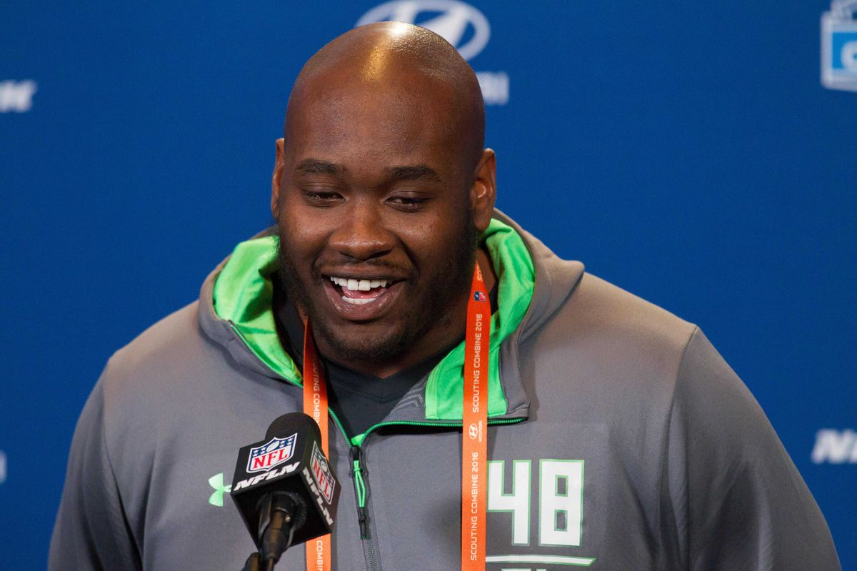 Laremy Tunsil speaks with the media at the NFL Scouting Combine