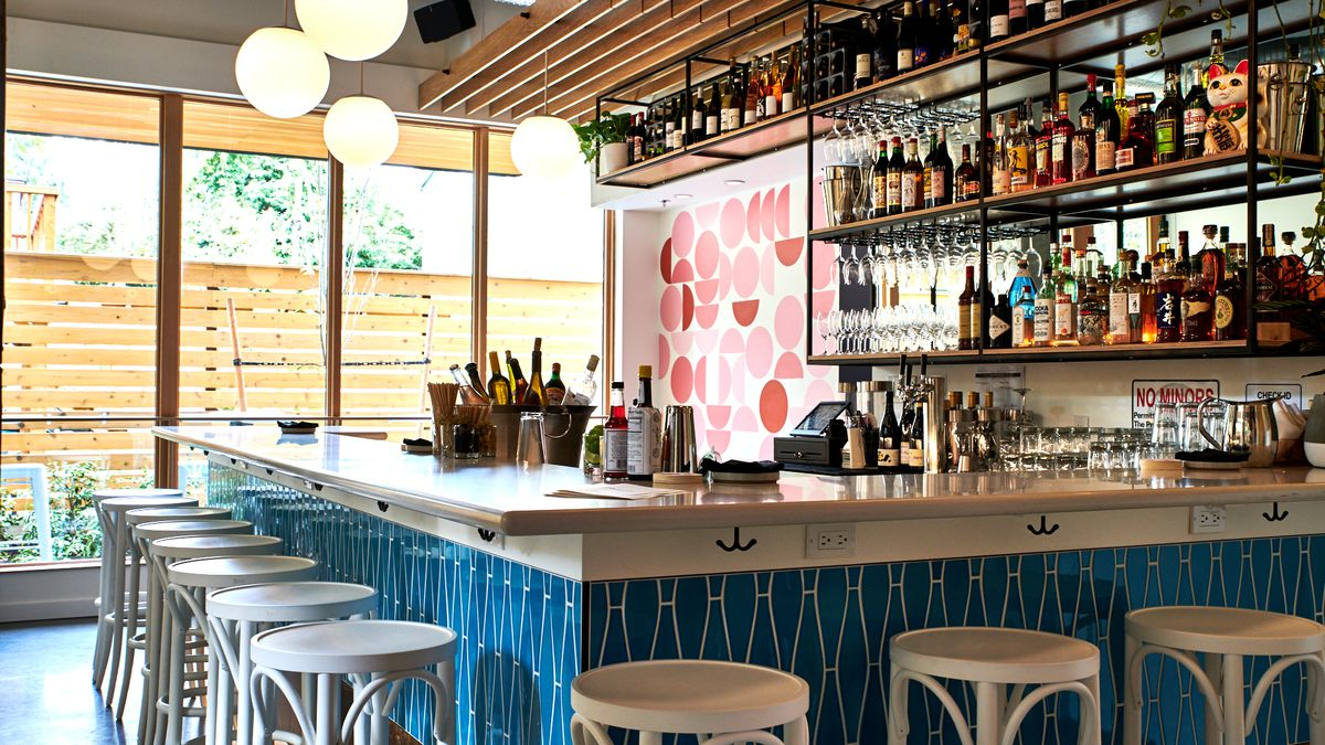A picture of the blue-and-white bar at Bar Diane