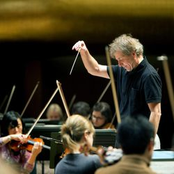 Thierry Fischer, Music Director of the Utah Symphony Orchestra, conducts a practice with the symphony at Abravanel Hall on Nov. 20, 2013.