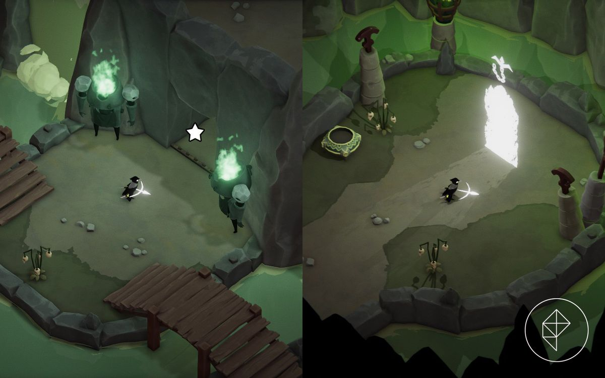 A comparison of two images showing where to enter to access the hookshot boss upgrade