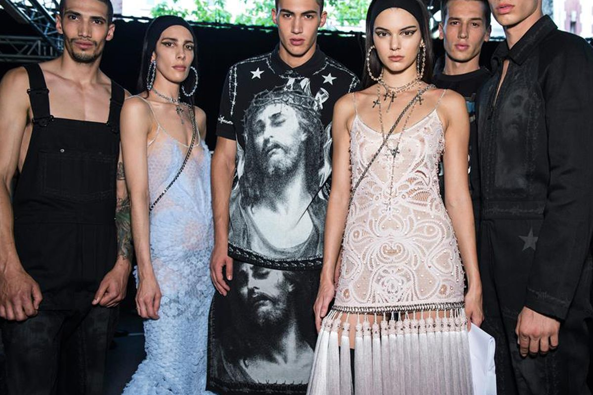 Kendall Jenner and models backstage at last week's Givenchy menswear show