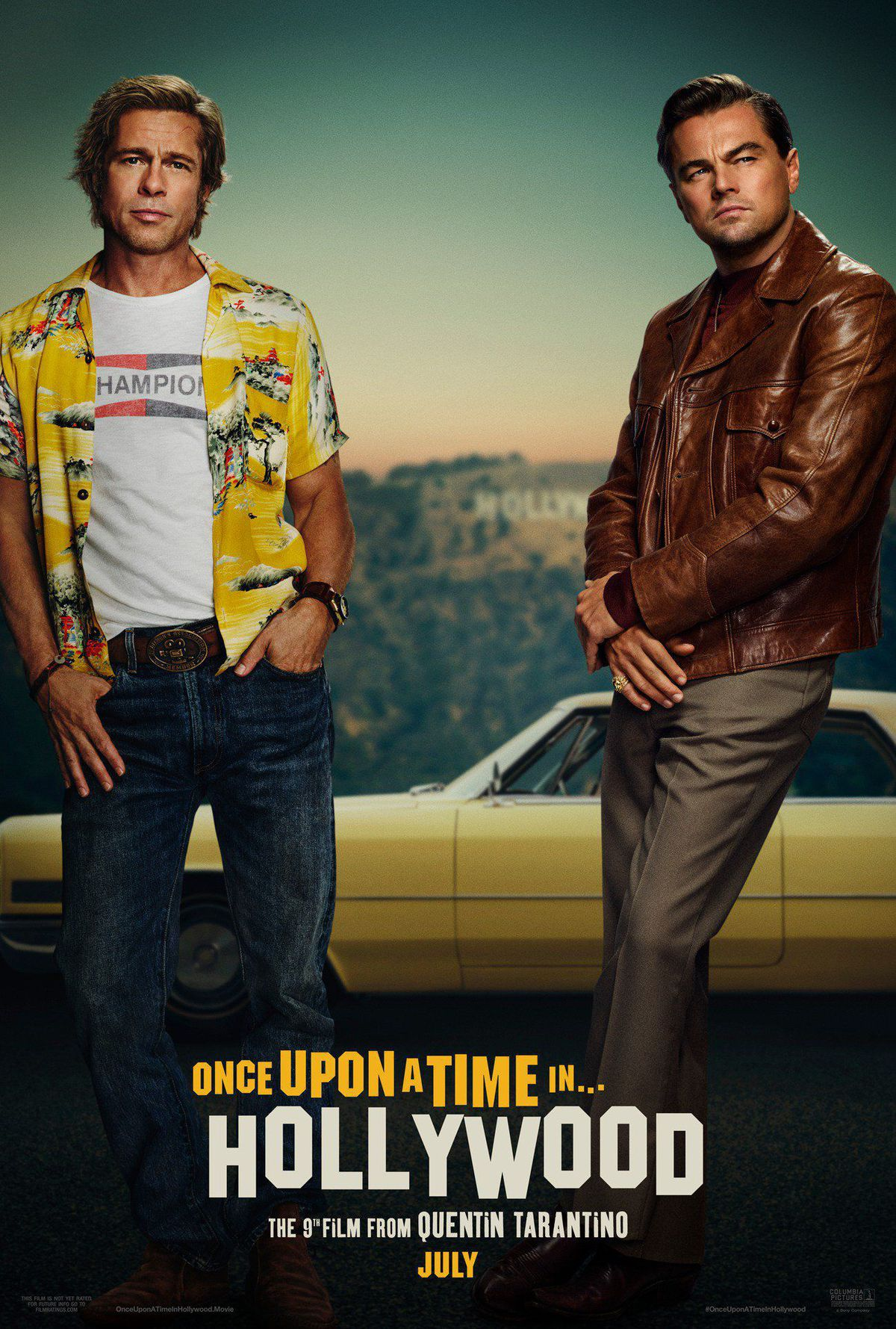 The full teaser poster for Once Upon a Time in Hollywood, starring Brad Pitt (standing on the left) and Leonardo DiCaprio.