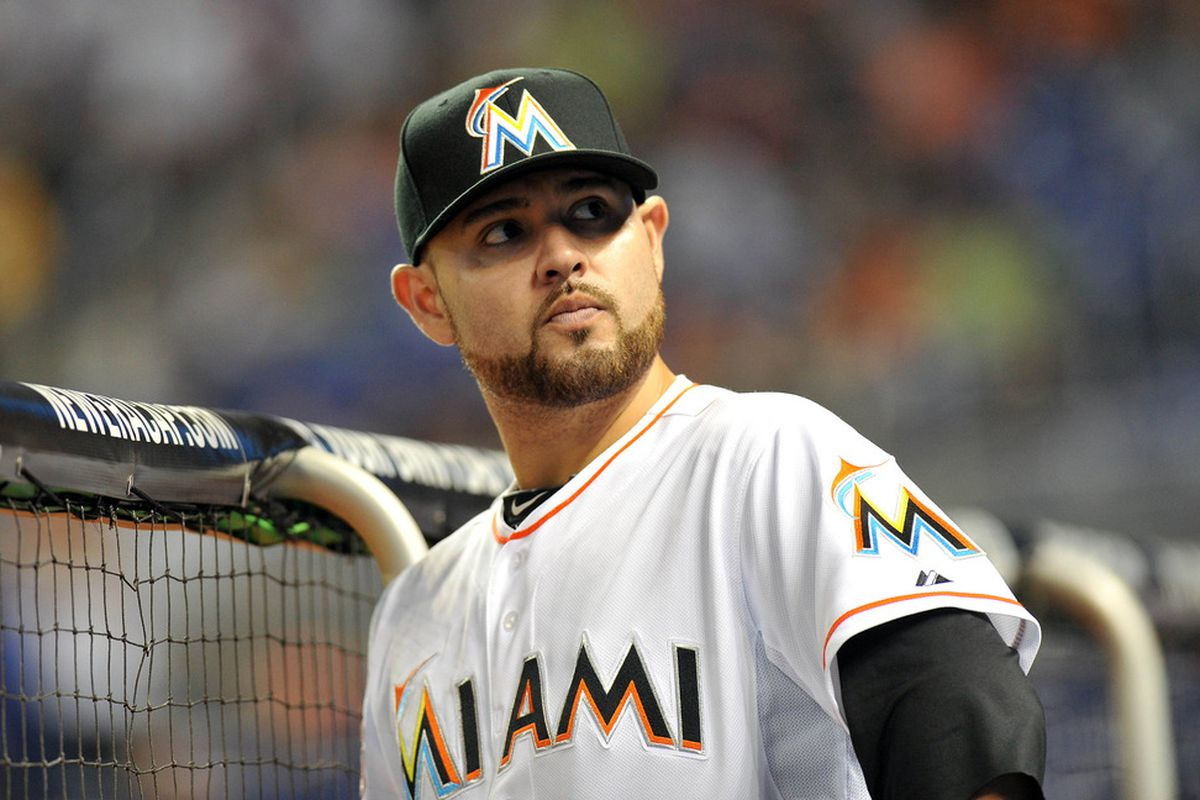 April 29, 2012; Miami, FL, USA; Miami Marlins starting pitcher Ricky Nolasco (47) looks on from the dugout during the first inning against the Arizona Diamondbacks at Marlins Park. Mandatory Credit: Steve Mitchell-US PRESSWIRE