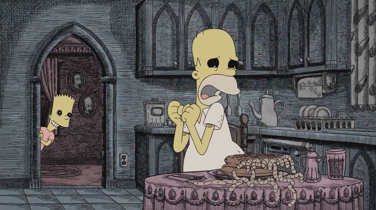 Bart and Homer as Gorey drawings in The Simpsons