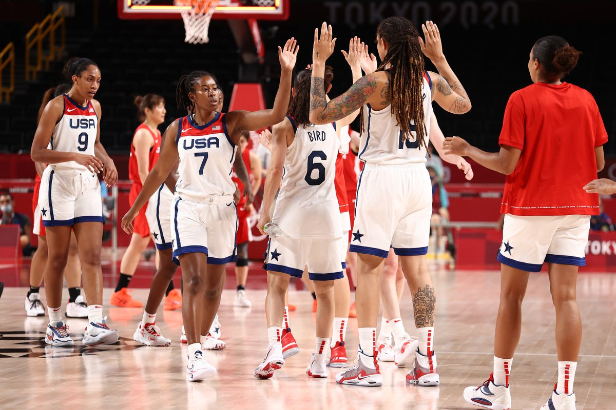 The the USA Basketball Womens National Team celebrate after the game against the Japan Women's National Team during the Women's Preliminary Round Group B game on day seven of the Tokyo 2020 Olympic Games at Saitama Super Arena on July 30, 2021 at Aomi Urban Sports Park in Tokyo, Japan.