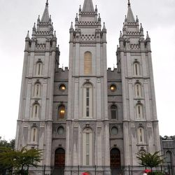 The Salt Lake Temple during LDS general conference in October 2009. Although John Rowe Moyle worked on the temple for over 20 years of his life, he did not live to see it completed.