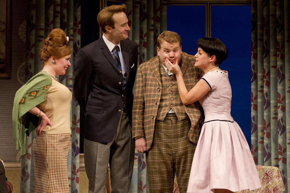 """In this theater image released by Boneau/Bryan-Brown, from left, Suzie Toase, Oliver Chris, James Corden and Jemima Rooper are shown in a scene from """"One Man, Two Guvnors,"""" performing at the Music Box Theatre in New York."""