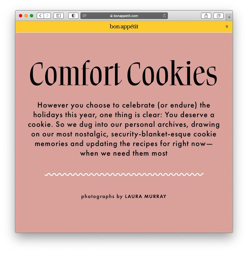 Screenshot of Bon Appetit's cookie article, black text on a mauve background.