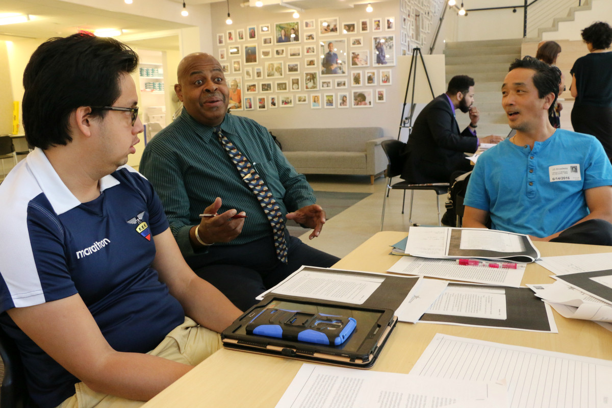 """Participants in NYC Men Teach learned about """"culturally relevant"""" curriculum at a recent training."""