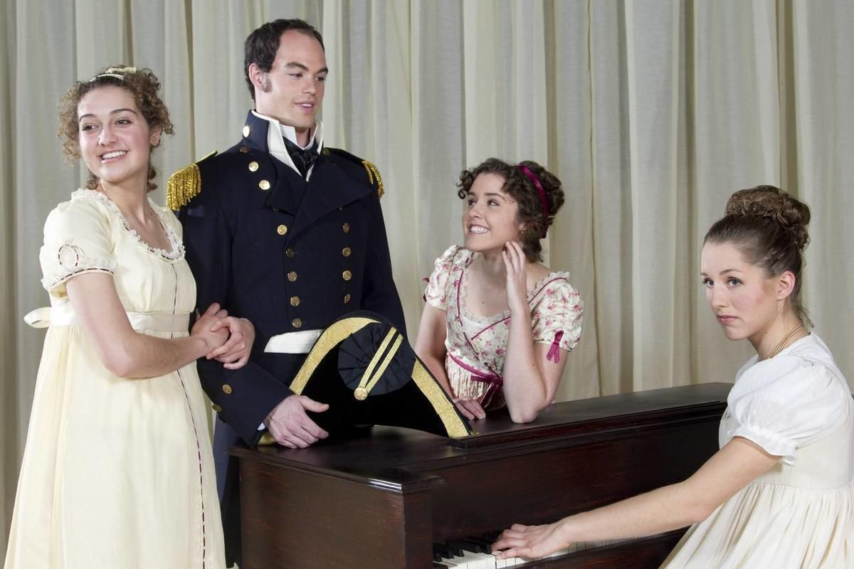 """Elise Osorio as Henrietta Musgrove, Eliot Wood as Captain Wentworth, Christie Clark as Louisa Musgrove and Anna Hargadon as Anne Elliot in BYU's original adaptation of Jane Austen's """"Persuasion,"""" March 16-April 1."""