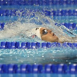Rhyan White participates in the women's 200-meter backstroke during wave 2 of the U.S. Olympic Swim Trials on Saturday, June 19, 2021, in Omaha, Neb.