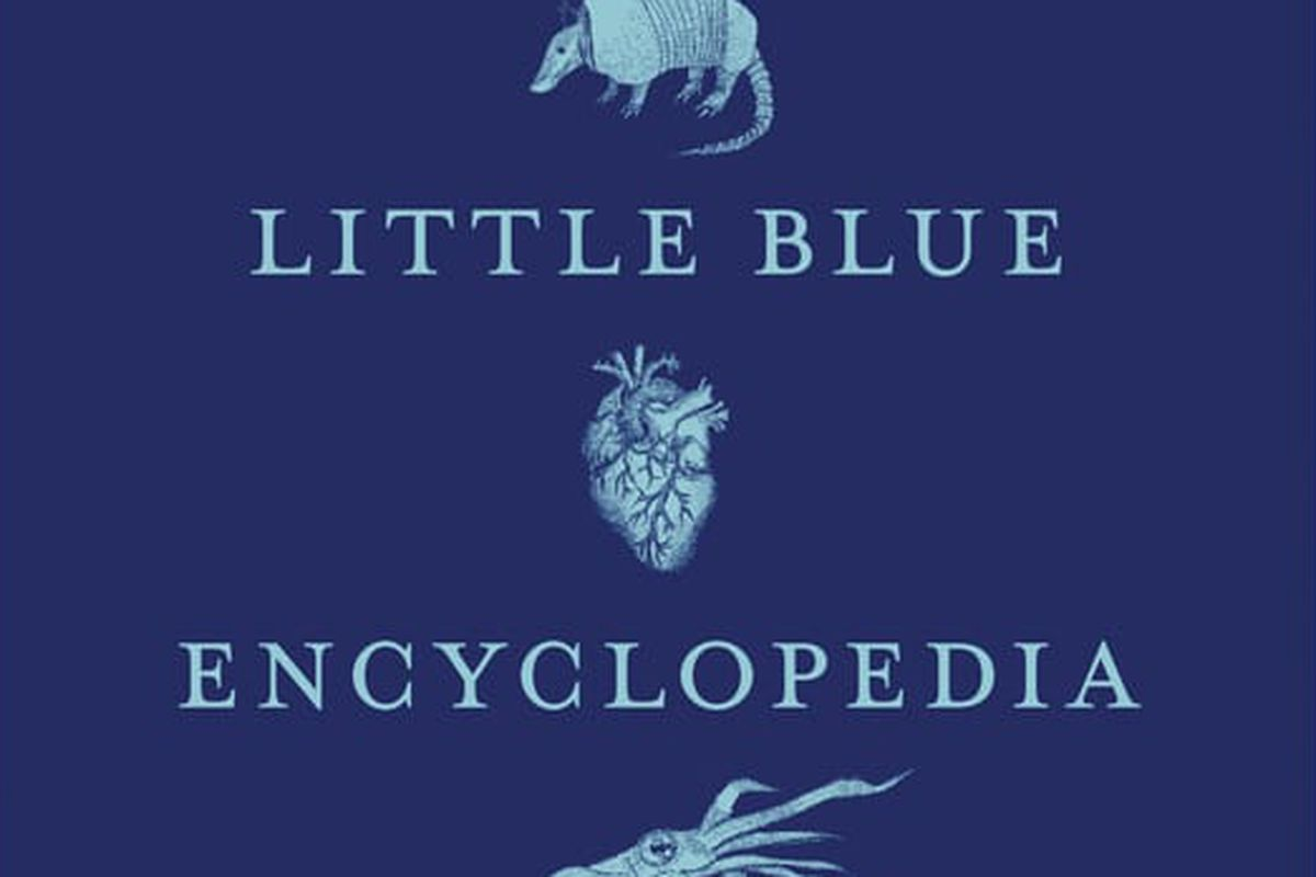 An armadillo, a heart, a squid, and lipstick adorn the cover of Little Blue Encyclopedia.