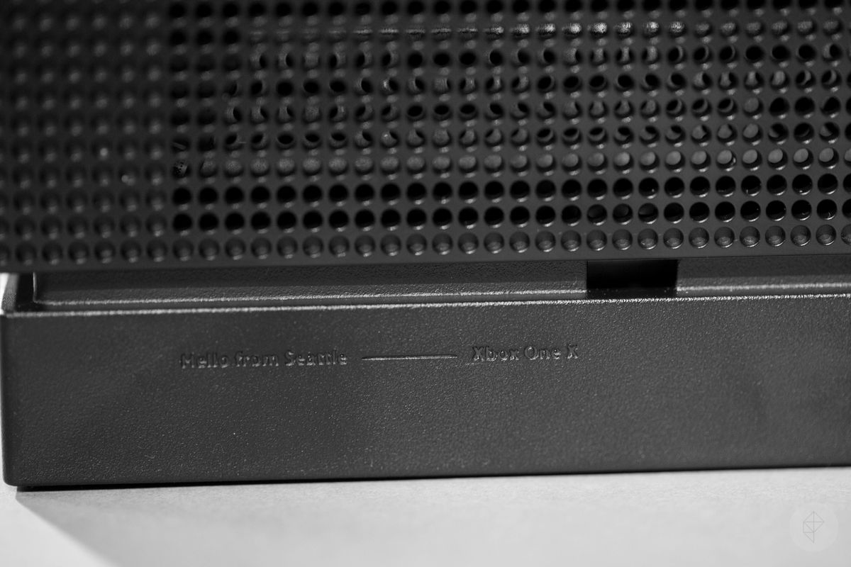 Xbox One X - right side close-up of 'Hello from Seattle' engraving