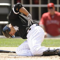 Chicago White Sox Paul Konerko reacts to getting hit by a pitch against the Los Angeles Angels in the third inning during an MLB baseball game in Chicago, Thursday.