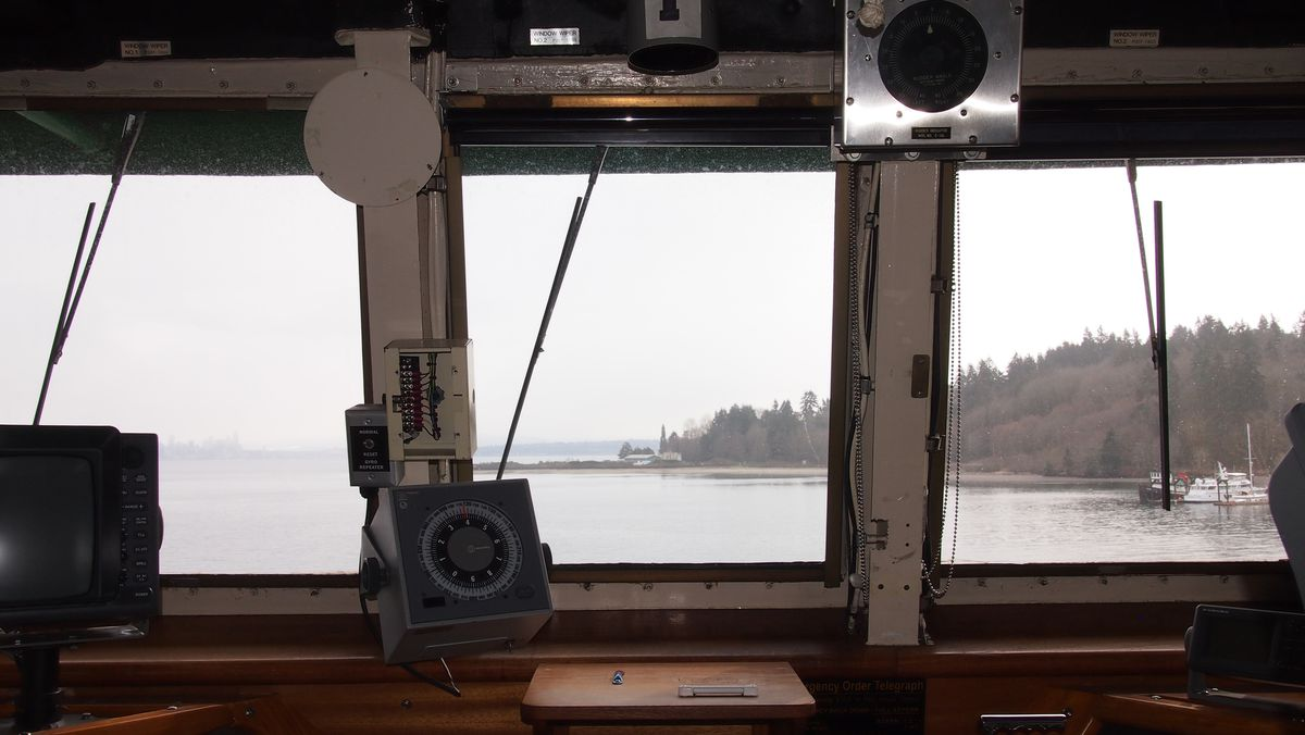 Windows at the helm of a ferry