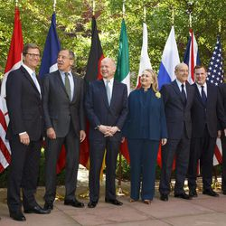 Secretary of State Hillary Rodham Clinton hosts a gathering of the G8 foreign ministers at Blair House in Washington, Wednesday, April 11, 2012. From left are: Japanese Foreign Minister Koichiro Gemba, German Foreign Minister Guido Westerwelle, Russian Foreign Minister Sergei Lavrov, British Foreign Secretary William Hague,  U.S. Secretary of State Hillary Rodham Clinton, French Foreign Minister Alain Juppe, Canadian Foreign Minister John Baird, Italy's Foreign Minister Giulio Terzi di Sant' Agata, and European Union Foreign Minister Catherine Ashton.