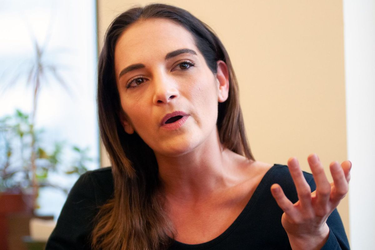 Brooklyn-based State Sen. Julia Salazar speaks about rent regulation at the Rosa Luxemburg Siftung in Midtown Manhattan, April 11, 2019.