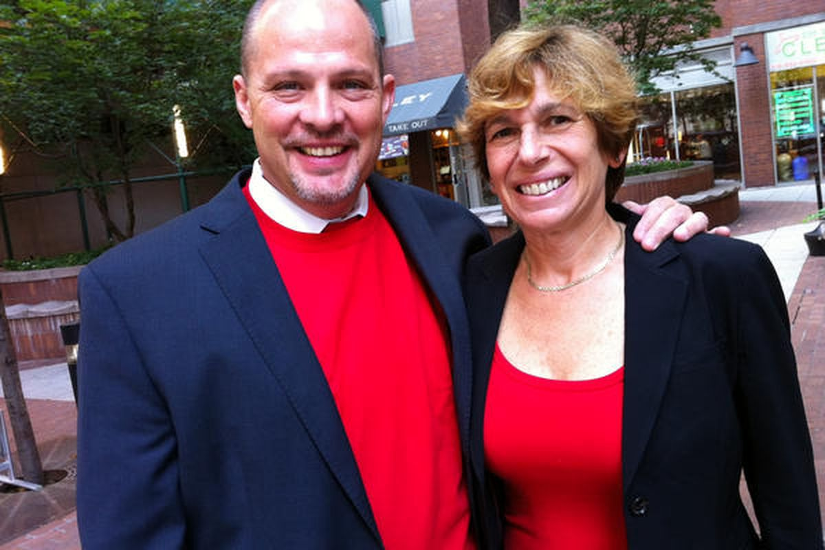 In a picture the UFT distributed on Twitter, President Michael Mulgrew and AFT President Randi Weingarten wear red in Sept. 2012 to show solidarity with teachers on strike in Chicago.