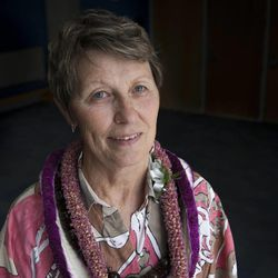 Athletic director Norma Carr, who is retiring after 25 years of service, poses for a portrait at the Lifetime Activities Center at Salt Lake Community College, Tuesday, June 17, 2014.