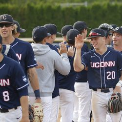 The UConn Huskies take on the East Carolina Pirates in a college baseball game at J.O. Christian Field in Storrs, CT on May 18, 2018.
