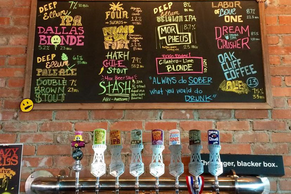 The beer offerings at Deep Ellum Brewing Co.'s taproom.
